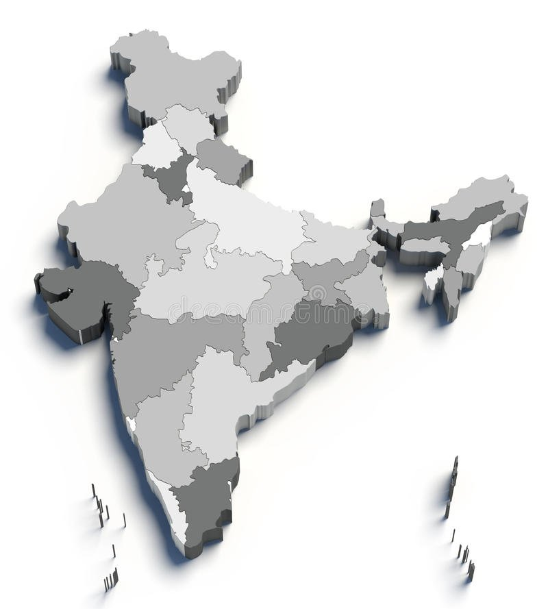 3d-india-grey-map-white-24195917